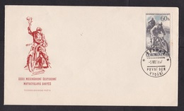 Czechoslovakia: FDC First Day Cover, 1957, 1 Stamp, Motorcycle Race, Motor Racing (minor Discolouring, See Scan) - Tchécoslovaquie