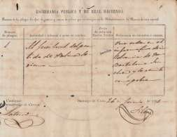 E6023 CUBA SPAIN ESPAÑA COLONIES. POST OFFICE INVOICE, SANTIAGO 1861. - Documentos Históricos