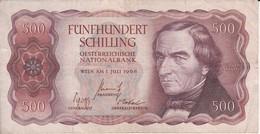 BILLETE DE AUSTRIA DE 500 SCHILLING DEL AÑO 1965 (BANKNOTE-BANK NOTE) - Austria