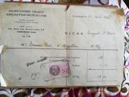 SICAE - SOCIETE D'INTERET COLLECTIF AGRICOLE DE L'OISE - Reçu Sur Avance De Consommation - 31/03/1946 - Electricité & Gaz