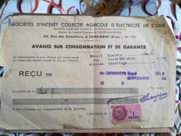 SICAE - SOCIETE D'INTERET COLLECTIF AGRICOLE DE L'OISE - Reçu Sur Avance De Consommation - TIMBRE FISCAL 100 FRANCS - Electricité & Gaz