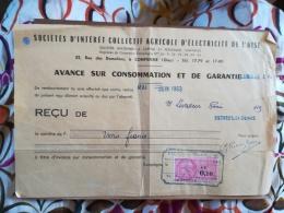 SICAE - SOCIETE D'INTERET COLLECTIF AGRICOLE DE L'OISE - Reçu Sur Avance De Consommation - TIMBRE FISCAL 0.10 N.FRANCS - Electricité & Gaz