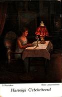 Tableau 557 G Rienäcker, Beim Lampenchein (femme Lisant Sous Lampe à Pétrole - Peintures & Tableaux
