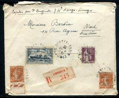 France - Enveloppe En Recommandé De Limoges Pour Niort En 1935 - Ref J20 - Marcophilie (Lettres)