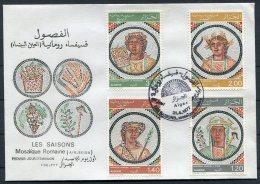 197 Algeria First Day Cover,  Les Saisons Mosaic Roman - Algeria (1962-...)