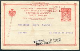 1916 Greece Stationery Postcard Athens - Le Chaux De Fonds, Switzerland. Censor Milano Italy - Greece