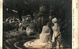 Tableau 566  Ad Gaudefroy, Surprise (femme Nue Baigneuse Chien Chasse à Courre - Pittura & Quadri