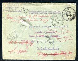 France - Enveloppe ( Avec Déchirures ) De Bayeux Pour Un Soldat Et Redirigée En 1918 - Ref J24 - Postmark Collection (Covers)