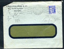 France - Type Paix Perforé DMC Sur Enveloppe Commerciale De Belfort En 1937 - Ref J28 - Postmark Collection (Covers)
