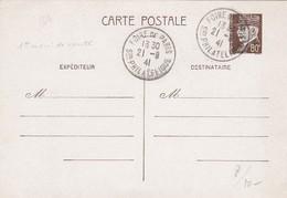 FRANCE - CP  ENTIER POSTAL PETAIN 80c - FOIRE DE PARIS 21.9.41  / 2 - Entiers Postaux