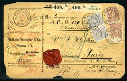 Allemagne - Colis Postal De  Plauen / Voilgtl Pour Paris En 1881 - Ref J36 - Covers & Documents