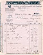 31  TOULOUSE  AUTOMOBILE LATIL  TALBOT  ARIES  E SOULE   FACTURE  1930 - Automobilismo