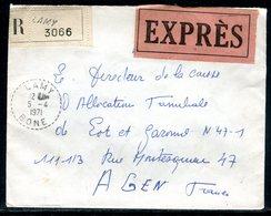 Algérie - Enveloppe En Recommandé Exprès De Lamy Pour La France En 1971 , Affranchissement Au Verso - Ref J44 - Algérie (1962-...)