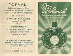 CALENDRIERS  Calendrier Parfumé 1952  Molinard Orval   2scans - Calendarios