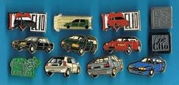 12 PIN'S  //  ** 12 VEHICULES & LOGOS RENAULT / CLIO / R5 / R11 / R19 / R21 / ALPINE A310 / ESPACE ** - Badges