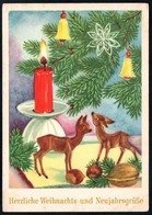 B5031 - Glückwunschkarte - Tannenzweig Bambi Kerze Baumbehang - Herbert Schulze Leipzig - Weihnachten
