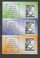 Germany 2002 Olympic Games Chamonix 1924 Set Of 3 Vignettes MNH - Olympische Spiele