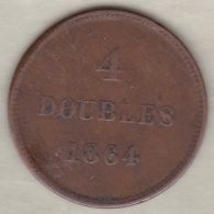 Guernesey 4 Doubles 1864 Bronze KM# 5 - Guernesey