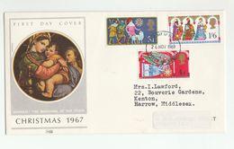 1969 Harrow GB FDC CHRISTMAS Stamps Sheep Religion Cover Raphael Art - FDC