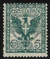 1901 Italia Italy Regno VITTORIO EMANUELE III 5c Verde Azzurro-70 MNH** - 1900-44 Vittorio Emanuele III