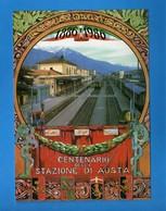 (Riz2) AOSTA 1986 - TRENI - Centenario Della STAZIONE Di AOSTA. Vedi Descrizione. - Treni