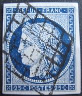 LOT R1749/167 - CERES N°4a Bleu Foncé - GRILLE NOIRE - Cote : 75,00 € SUPERBE - 1849-1850 Cérès