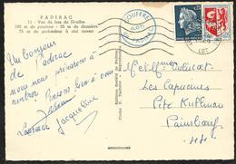 Secap  46 Gouffre De Padirac 30.4.1969 Sur 0,25 Marianne De Cheffer Et 0,05 Blason D'Auch / CP - Marcophilie (Lettres)