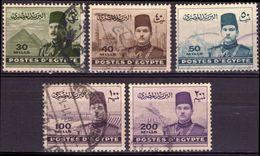 EGITTO 1939/1952 - RE FAROUQ - 5 VALORI USATI - Egypt