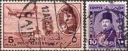 EGITTO 1947/1952 - POSTA AEREA + RE FAROUK - 2 VALORI USATI - Egypt