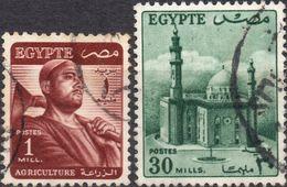 EGITTO 1953 - AGRICOLTURA + MOSCHEA - 2 VALORI USATI - Egypt