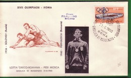 FDC FILAGRANO OLIMPIADI ROMA 1960 I VINCITORI:LOTTA GRECO-ROMANA  Pesi Mosca     PIERVULESCU. - Italia