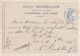 8/108 Lettre Facture Reçu BARBILLON GRAINS LILLE / 1886 - France