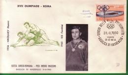 FDC FILAGRANO OLIMPIADI ROMA 1960 I VINCITORI:LOTTA GRECO-ROMANA  Pesi Medio Massimi    KIS. - Italia