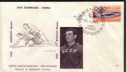 FDC FILAGRANO OLIMPIADI ROMA 1960 I VINCITORI:LOTTA GRECO-ROMANA  Pesi Massimi    BOGDAN. - Italia