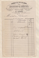 8/121 Lettre Facture BUFFET HOTEL DE LA GARE CHEMIN DE FER LILLE / 1893 - France
