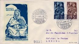 1952 , SAHARA ESPAÑOL , SOBRE DE PRIMER DIA , ED. 94 - 95 , PRO INFANCIA - Sahara Español