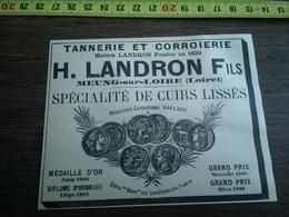 PUBLICITE 30/40 TANNERIES LANDRON FILS MEUNG SUR LOIRE HERRENSCHMIDT - Alte Papiere