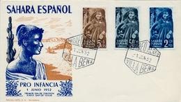 1952 , SAHARA ESPAÑOL , SOBRE DE PRIMER DIA , ED. 94 - 96 , PRO INFANCIA - Sahara Español