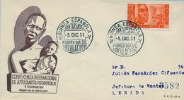 1951 , GUINEA ESPAÑOLA , SOBRE DE PRIMER DIA , ED. 309 , CONFERENCIA INTERNACIONAL DE AFRICANISTAS - Guinea Spagnola