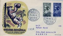 1956 , GUINEA ESPAÑOLA , SOBRE DE PRIMER DIA , ED. 350 - 351 , SERIE BÁSICA , FÚTBOL - Guinea Española