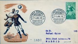1956 , GUINEA ESPAÑOLA , SOBRE DE PRIMER DIA , ED. 354 , SERIE BÁSICA , FÚTBOL - Guinea Española