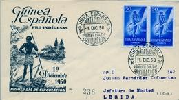 1950 , GUINEA ESPAÑOLA , SOBRE DE PRIMER DIA , ED. 295 , PRO INDÍGENAS - Guinea Española