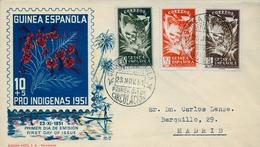 1950 , GUINEA ESPAÑOLA , SOBRE DE PRIMER DIA , ED. 306 / 308 , DIA DEL SELLO - Guinea Española