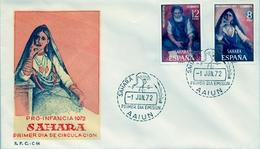 1972 , SAHARA ESPAÑOL , SOBRE DE PRIMER DIA , ED. 306 / 307 , PRO INFANCIA , PINTURAS - Sahara Español