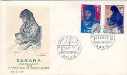 1972 , SAHARA ESPAÑOL , SOBRE DE PRIMER DIA , ED. 308 / 309 , PRO INFANCIA , PINTURAS - Sahara Español