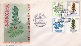 1967 , SAHARA ESPAÑOL , SOBRE DE PRIMER DIA , ED. 256 / 259 , PRO INFANCIA , FLORA - Sahara Español