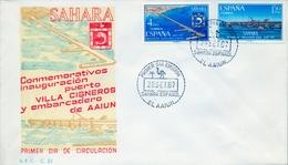 1967 , SAHARA ESPAÑOL , SOBRE DE PRIMER DIA , ED. 260 / 261 , INSTALACIONES PORTUARIAS - Sahara Español