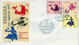 1968 , SAHARA ESPAÑOL , SOBRE DE PRIMER DIA , ED. 265 / 267 , PRO INFANCIA , SIGNOS DEL ZODIACO - Sahara Español