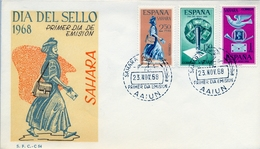 1968 , SAHARA ESPAÑOL , SOBRE DE PRIMER DIA , ED. 268 / 270 , DIA DEL SELLO - Sahara Español