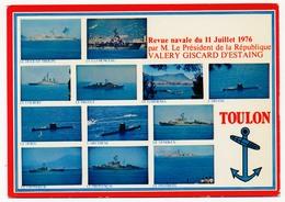 """CPM - (BATEAUX) - Corvette ASM Type C70 """"Le Montcalm""""Revue Navale Du 11 Juillet 1976 Par Valéry Giscard D'Estaing - Warships"""